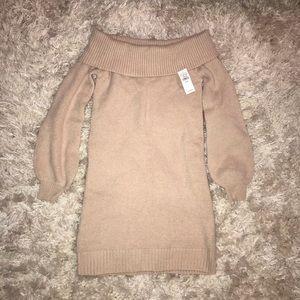 NWT Off-shoulder Beige Sweater dress